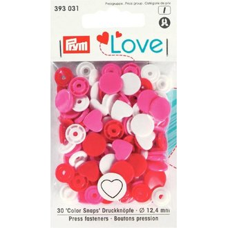Prym 393031 Love Color Snaps Herz Rottöne Ø 12,4mm