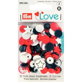 Prym Love 393061  Color Snaps Stern Blau Rot Weiss Ø 12,4mm