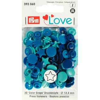 Prym 393060 Love Color Snaps Stern Blau Türkis Ø 12,4mm
