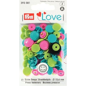 Prym 393081 Love Color Snaps Blume Tü. Gr. Pi. Ø 13,6mm
